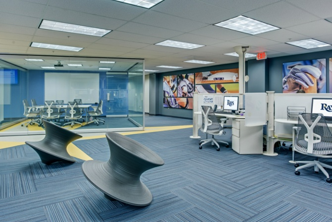 Commercial interior design services by Carlson - Tampa Bay Rays corporate HQ